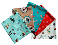 Christmas dog fat quarter bundle, Xmas bundle, Christmas Craft Set Cotton Fabric