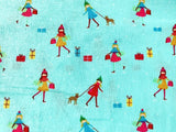 Blue Xmas Shopping Christmas Fabric, Cotton Fabric, Holiday Fabric Kids Fabric