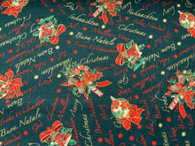 Load image into Gallery viewer, Bottle Green Christmas Bells Fabric Merry Xmas Craft Fabric - Width 138cm/54""