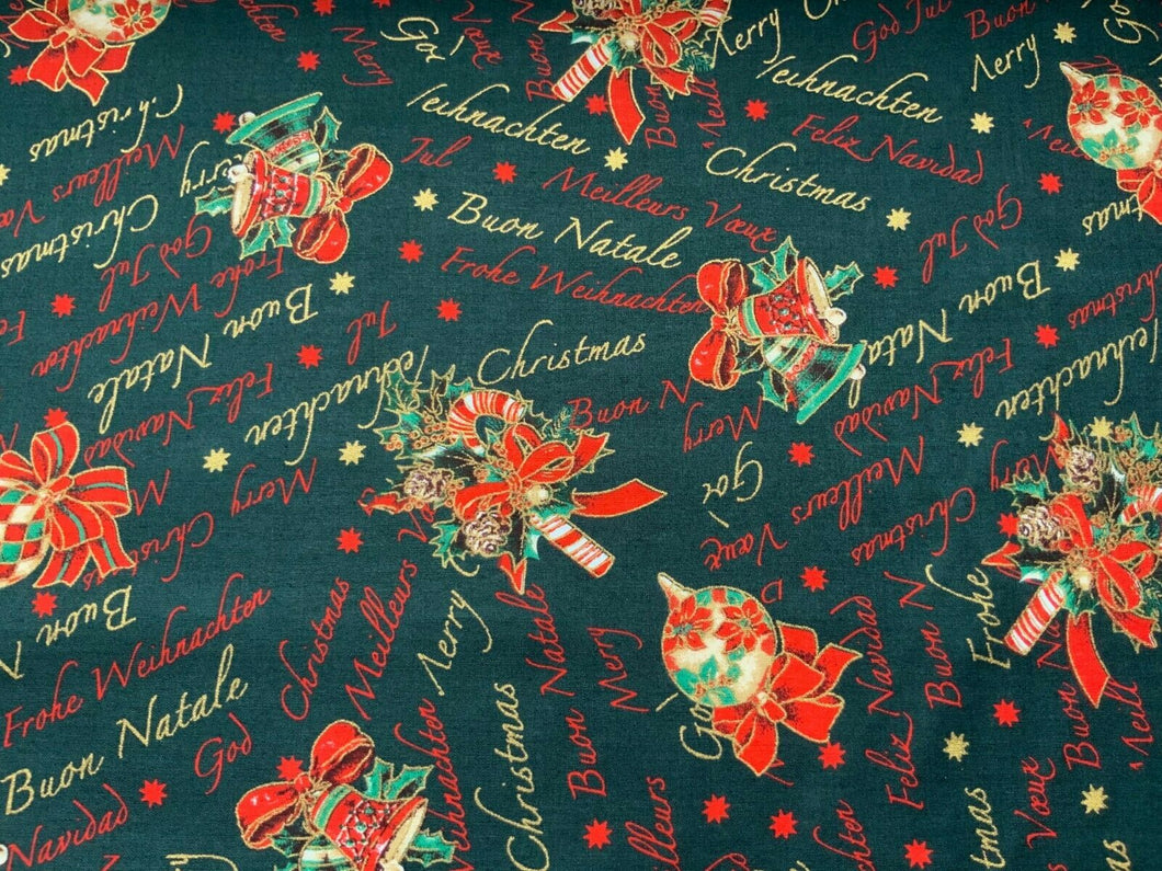 Bottle Green Christmas Bells Fabric Merry Xmas Craft Fabric - Width 138cm/54