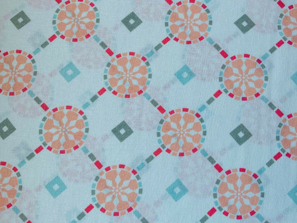 Peach Moroccan Bazaar Tiled Colourful Indian Cotton Fabric - Width Approx 112cm