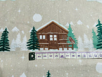 Beige Lodge Christmas Fabric, Cotton Fabric, Traditional Holiday Fabric