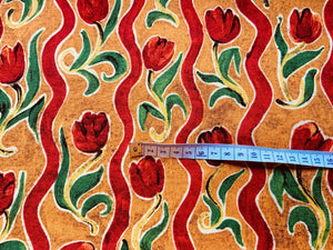 Orange Rust Red Tulip Fabric Craft Cotton Fabric - Width Approx. 112cm/44""
