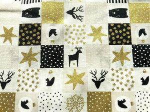 "Xmas Reindeer Cream Ivory Silver Grey Fabric Christmas Cotton Fabric 60"" Wide"