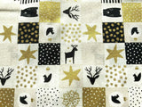 "Xmas Reindeer Cream Ivory Silver Grey Fabric Christmas Cotton Fabric 60"" Wide - Kims Crafty Corner"