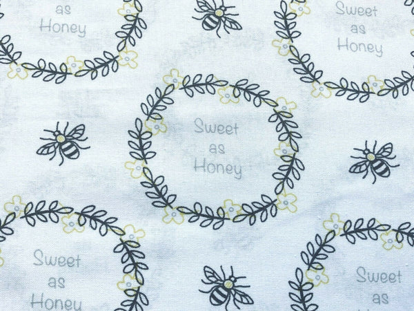 Bee Fabric, Sweet As Honey Fabric, Cotton Fabric, Bumble Bee Fabric, Honey Bee