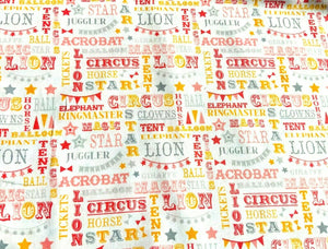 Baby Nursery Circus Themed Cotton Fabric Craft Coral Pink Blue Fabric Animals