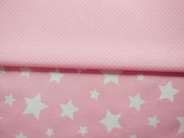 Baby Pink Stars Polka Dot Fabric White Cotton Canvas Heavy Upholstery Fabric