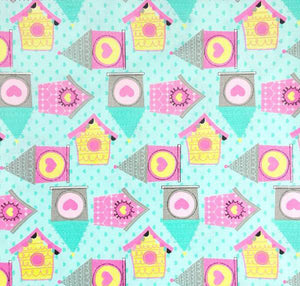 Blue Birdhouse Fabric - 100% Cotton - Kims Crafty Corner