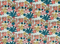 White Nautical Fabric Coral Reef Cotton Fabric, Ocean Fabric, Seaside Fabric