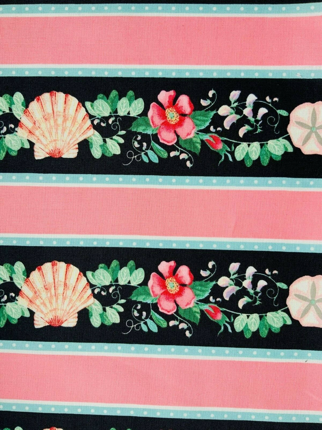 Pink Floral Blue Seaside Nautical Cotton Fabric Craft Quilting Seashell Fabric