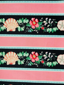 Pink Floral Blue Seaside Nautical Cotton Fabric Craft Quilting Seashell Fabric - Kims Crafty Corner