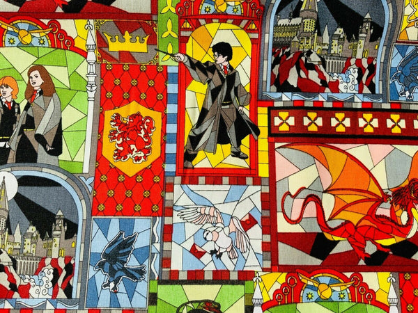 Harry Potter Fabric Stained Glass Ron Hermione Cotton Fabric Craft Cotton