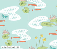 Blue Pond Nursery Fabric Garden Bird Craft Fabric Cotton Fabric Green Lily Fish