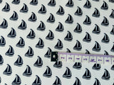White Navy Nautical Fabric Sailing Boat Cotton Fabric, Ocean Fabric, Ship Fabric