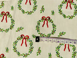 Beige Christmas Wreath Fabric, Cotton Traditional Holiday Fabric, Xmas Fabric