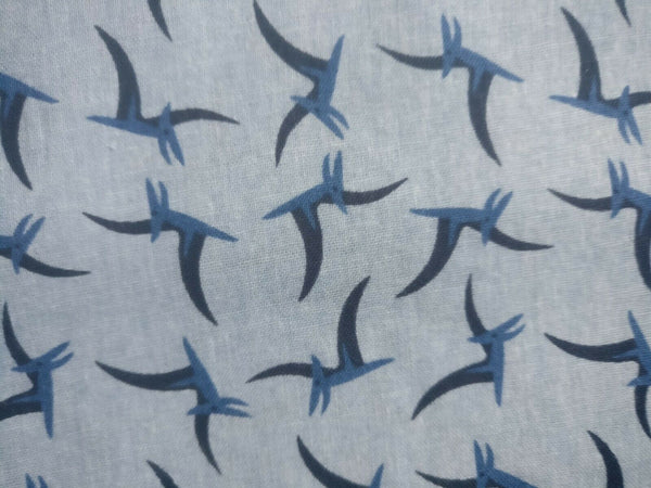 "Kids Blue Wings Dino Fabric Dinosaur Fabric Craft Nursery Cotton Fabric 44"" Wide"