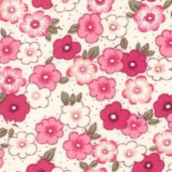 "Pink Floral Cotton Fabric - Width Approx. 112cm/44"" Sold by the Metre"
