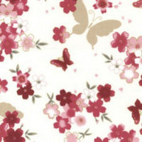 "Rose Butterfly Cotton Fabric - Width Approx. 112cm/44"" Sold by the Metre"
