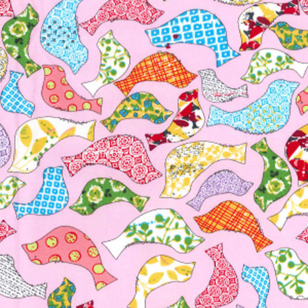 "Pink Patchwork Birds Cotton Fabric - Width Approx. 112cm/44"" Sold by the Metre"