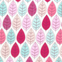 "White Pink Leaves Cotton Fabric - Width Approx. 112cm/44"" Sold by the Metre"