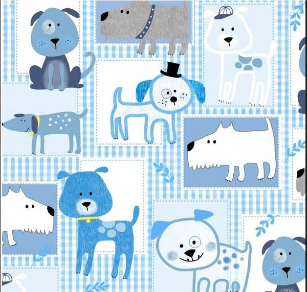 "Blue Dog Cotton Fabric - Width Approx. 112cm/44"" Sold by the Metre"