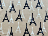 "Tan Eiffel Tower Paris Cotton Fabric - Width Approx. 112cm/44"" Sold by the Metre"