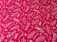 "Hot Pink Floral Cotton Fabric - Width Approx. 112cm/44"" Sold by the Metre"