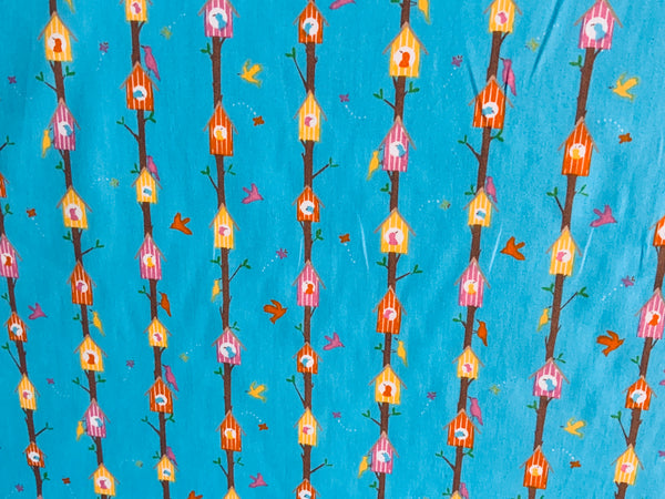 "Blue Birdhouse Cotton Fabric - Width Approx. 112cm/44"" Sold by the Metre"