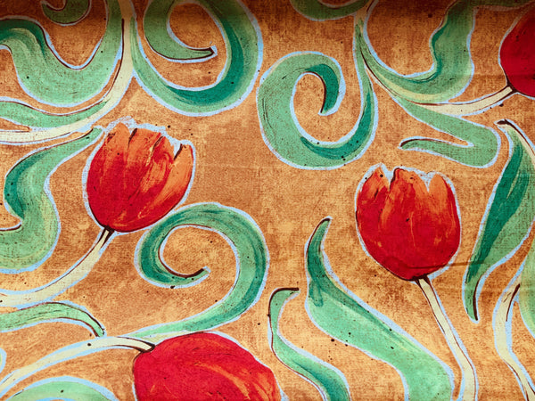 "Large Print Orange Tulip Floral Cotton Fabric - Width Approx. 112cm/44"" Sold by the Metre"