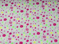 "Pink Buttons Cotton Fabric - Width Approx. 112cm/44"" Sold by the Metre"