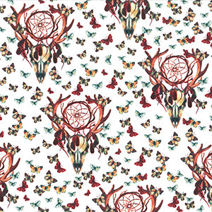 "White Butterfly Skulls Cotton Fabric - Width Approx. 150cm/59"" Sold by the Metre"