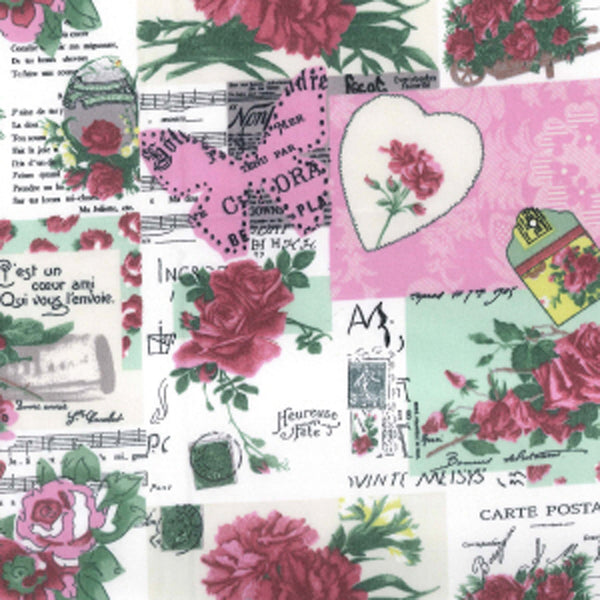 "Pink Scrapbook Patchwork Cotton Fabric - Width Approx. 112cm/44"" Sold by the Metre"