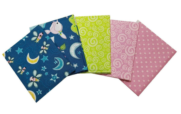 Colourful Sleep Time Fat Quarter Bundle, Cotton Fabric, Woodland Animals - Kims Crafty Corner