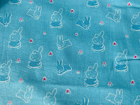 Nursery Fabric Miffy Blue Bedtime Rabbits Cotton Fabric - Width Approx 112cm/44""