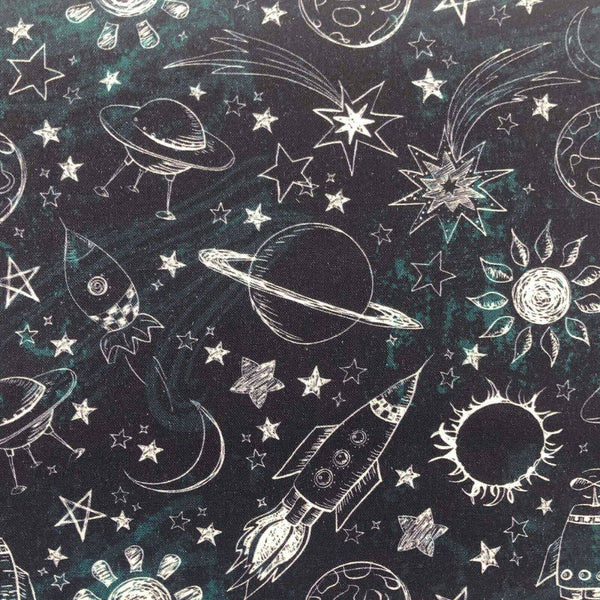 "Black Astronaut Fabric Outer Space Cotton Fabric Width Approx 112cm/44"" Planets"