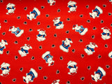 "Cute Red Baby Nursery Sailor Dog Cotton Fabric Home Decor - Width 138cm/54"" - Kims Crafty Corner"
