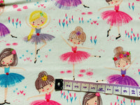 Ballet Dancer Fabric, Girls Fabric, White Cotton Fabric, Ballerina Fabric, Dance