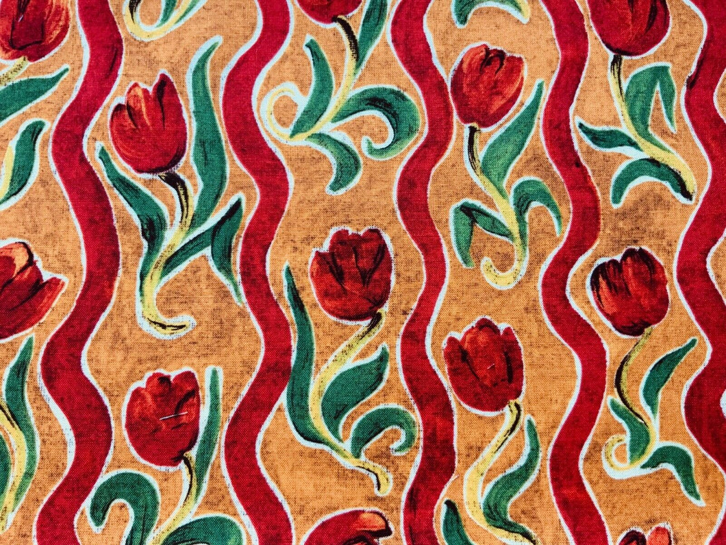 Orange Rust Red Tulip Fabric Craft Cotton Fabric - Width Approx. 112cm/44