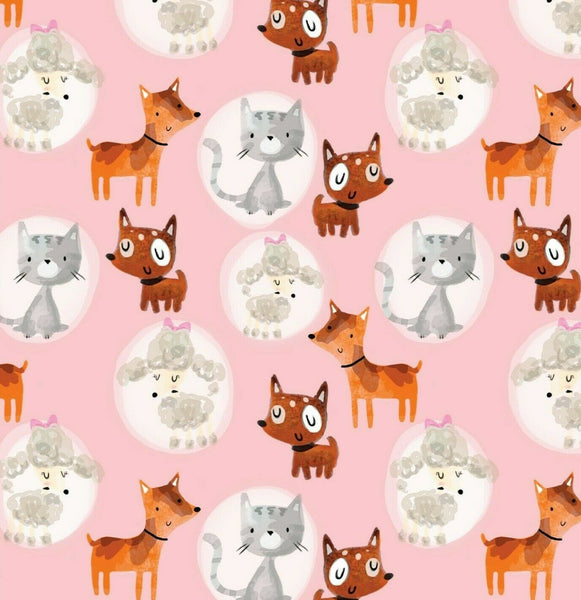 Pink Dog Fabric, 100% Cotton Fabric, Kids Fabric, Cute Fabric, Cool Fabric Cat