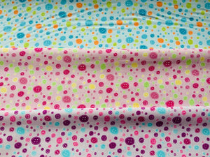 Blue Pink Purple Buttons Fabric Craft Cotton Fabric - Width Approx. 112cm/44""