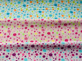 "Blue Pink Purple Buttons Fabric Craft Cotton Fabric - Width Approx. 112cm/44"" - Kims Crafty Corner"