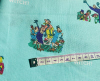 Roald Dahl The Witches Fabric, Blue Witches Fabric, Nursery Fabric, Halloween
