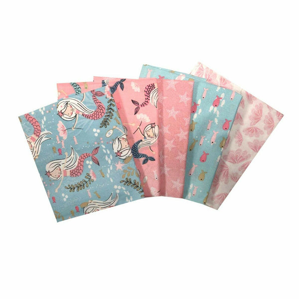 Mermaid Fabric, Nautical Fat Quarter Bundle, Nursery Fabric Girls Room Fabric