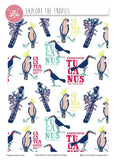 "White Bird Cotton Fabric - Width Approx. 112cm/44"" Bird Fabric Toucan Blue"