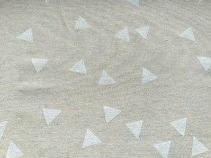 White Triangle on Natural Fabric Cotton Canvas Heavy Duty Upholstery Fabric