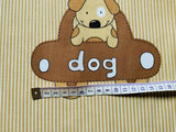 Beige Baby Nursery Cotton Fabric - Dog Cat Fabric - Unisex Nursery Fabric