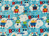 Blue Robot Fabric Cotton Fabric, Kids Fabric Boys Fabric Metre Fat Quarter