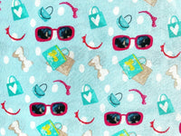 Blue Sunglasses Fabric, 100% Cotton Fabric, Kids Fabric, Teenage Girl Fabric