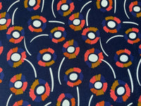 "Daisy Floral on Navy Blue Cotton Fabric - Width Approx. 112cm/44"" Dressmaking"